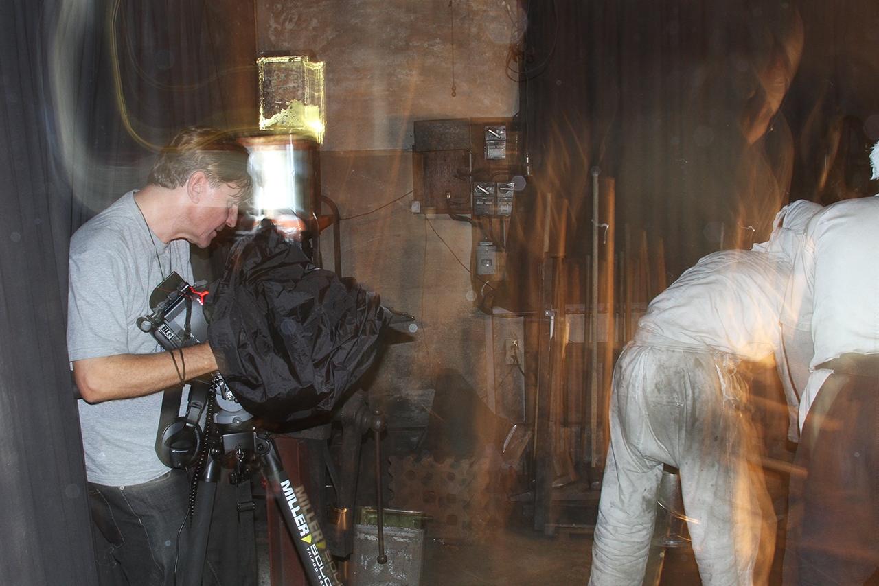 Jon Braeley filming in the forge of Kawachi Kunihira