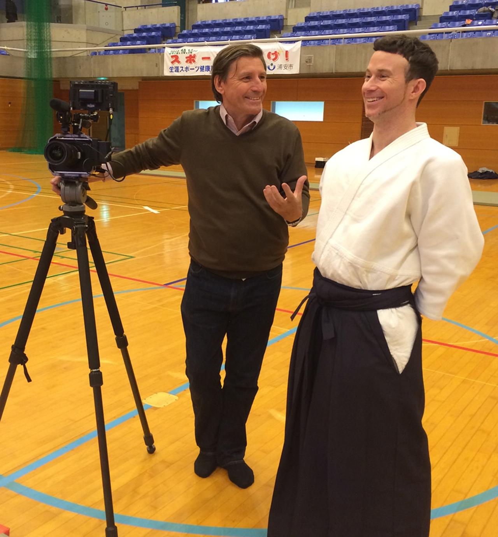 Jon Braeley with Jim Dawes, Uchideshi at Yoshinkan Hombu dojo
