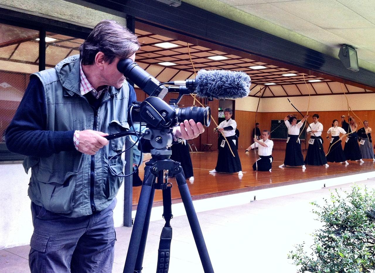 Jon Braeley filming at teh Japan Kyudo Championships 2012