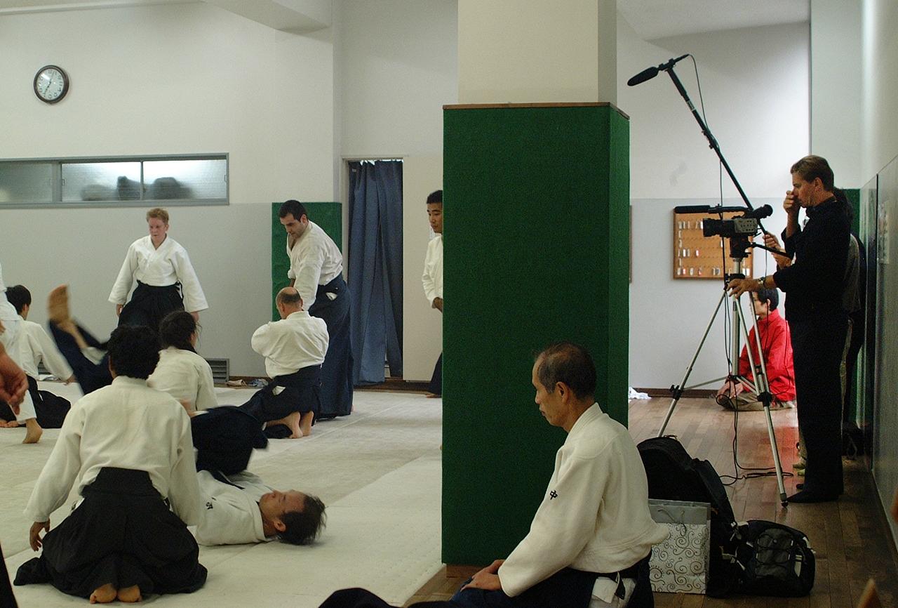 Film crew at the Aikido Hombu dojo. 2003