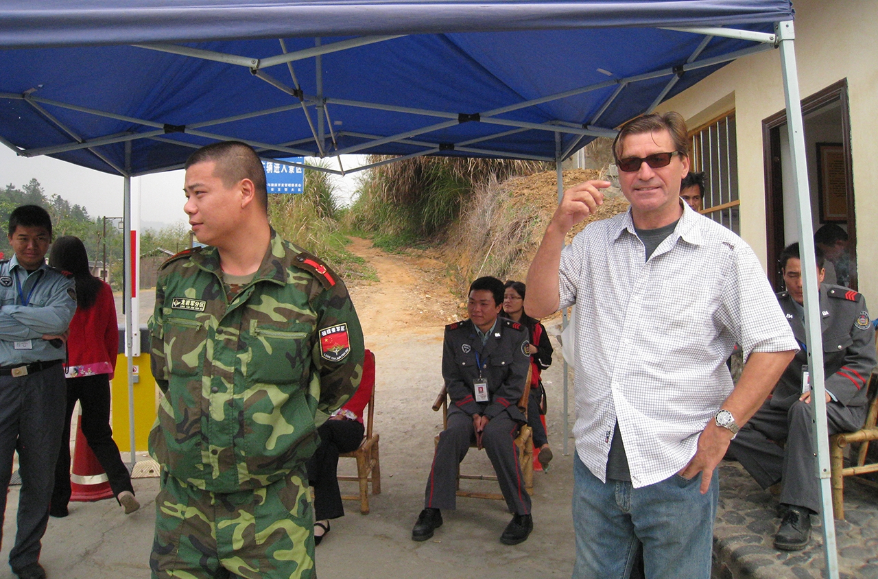 Director Jon Braeley held by border patrol police, Fujian, China, 2009