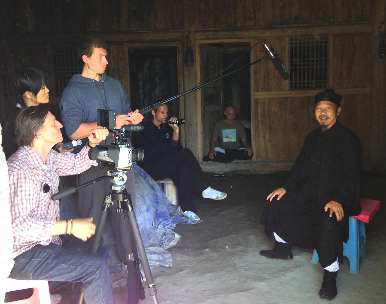 Film crew at the Master Zhong Yun Long interview, Wudang Mountain 2013