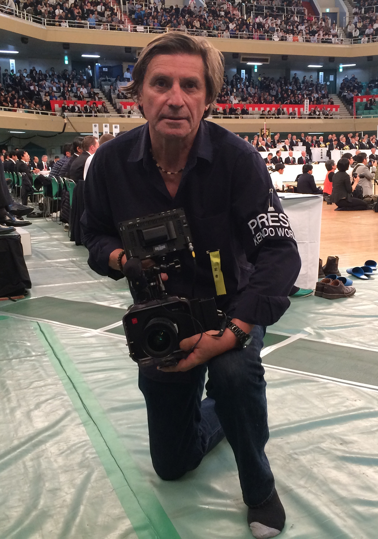 Jon Braeley filming at the Japan Kendo Championships 2013