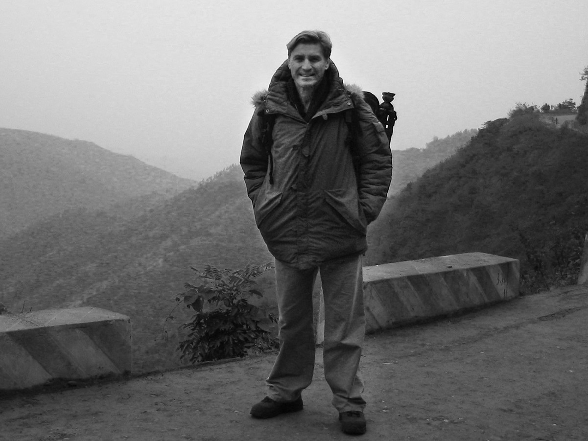 Jon Braeley climbing up Wudang Mountain. 2002